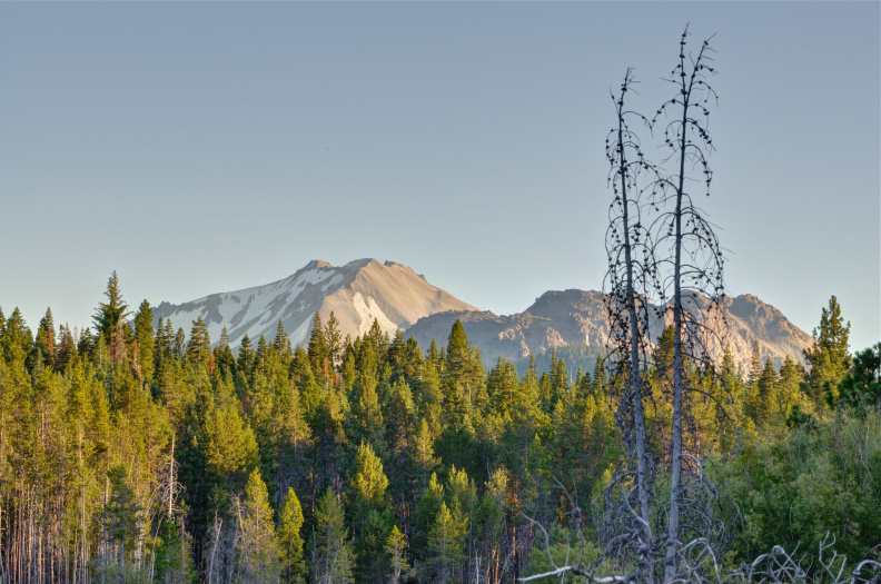 Lassen Peak and Chaos Crags at dusk