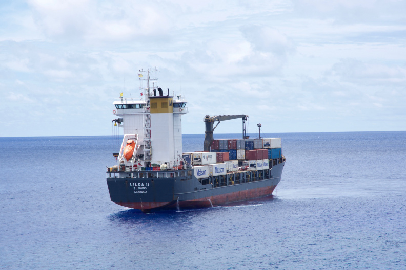 Niue has two physical links to the outside world: A 2x per week flight from NZ, and this freighter...