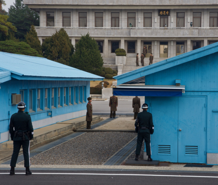 North and South Korean soldiers face off at the 'Joint Security Area', Panmunjom, in the Korean DMZ