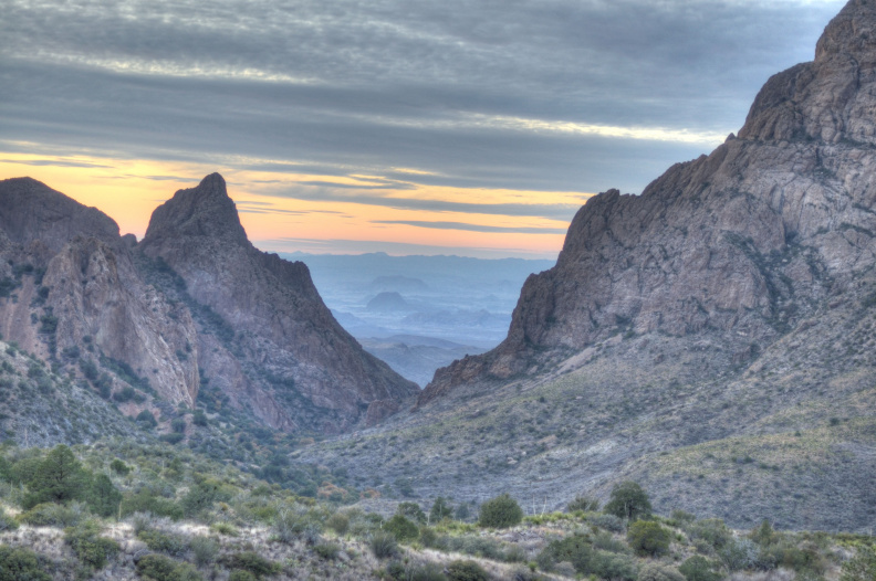 Sunset from Chisos Basin, Big Bend National Park, Texas. (HDR)