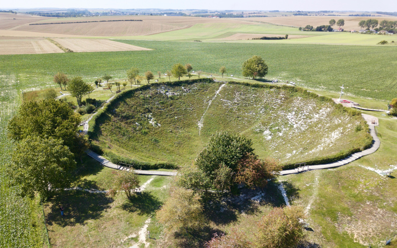 Lochnagar Mine Crater - created on July 1st, 1916 - the first day of the Battle of the Somme