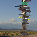 A funky sign sitting in the middle of the Mojave Desert, California